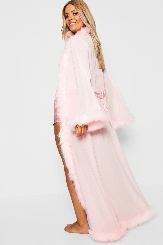 low price sale price modern techniques Plus Gemma Collins Kimono Robe With Fluffy Trim