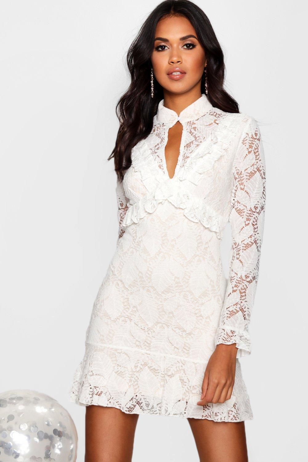1425bf273210 Lyst - Boohoo Boutique Peplum Hem Lace Bodycon Dress in White
