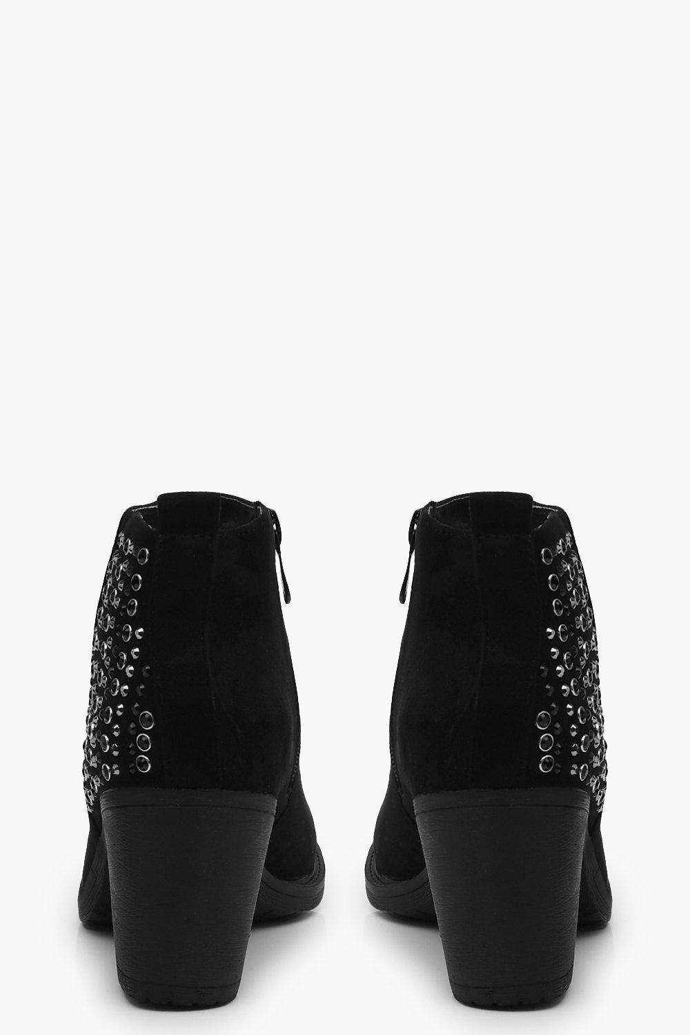 Boohoo Rebecca Diamante Back Counter Ankle Boot in Black