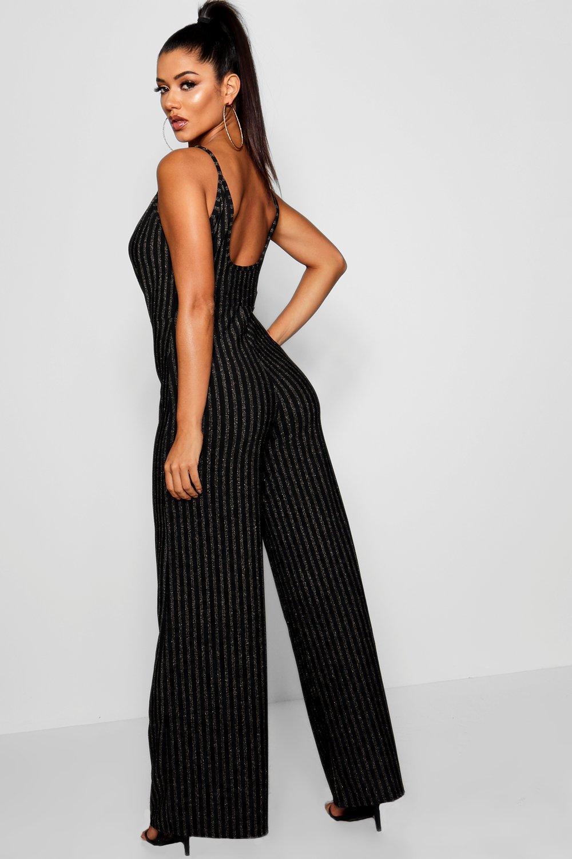 e80973e67b6 Boohoo - Black Glitter Stripe Plunge Jumpsuit - Lyst. View fullscreen