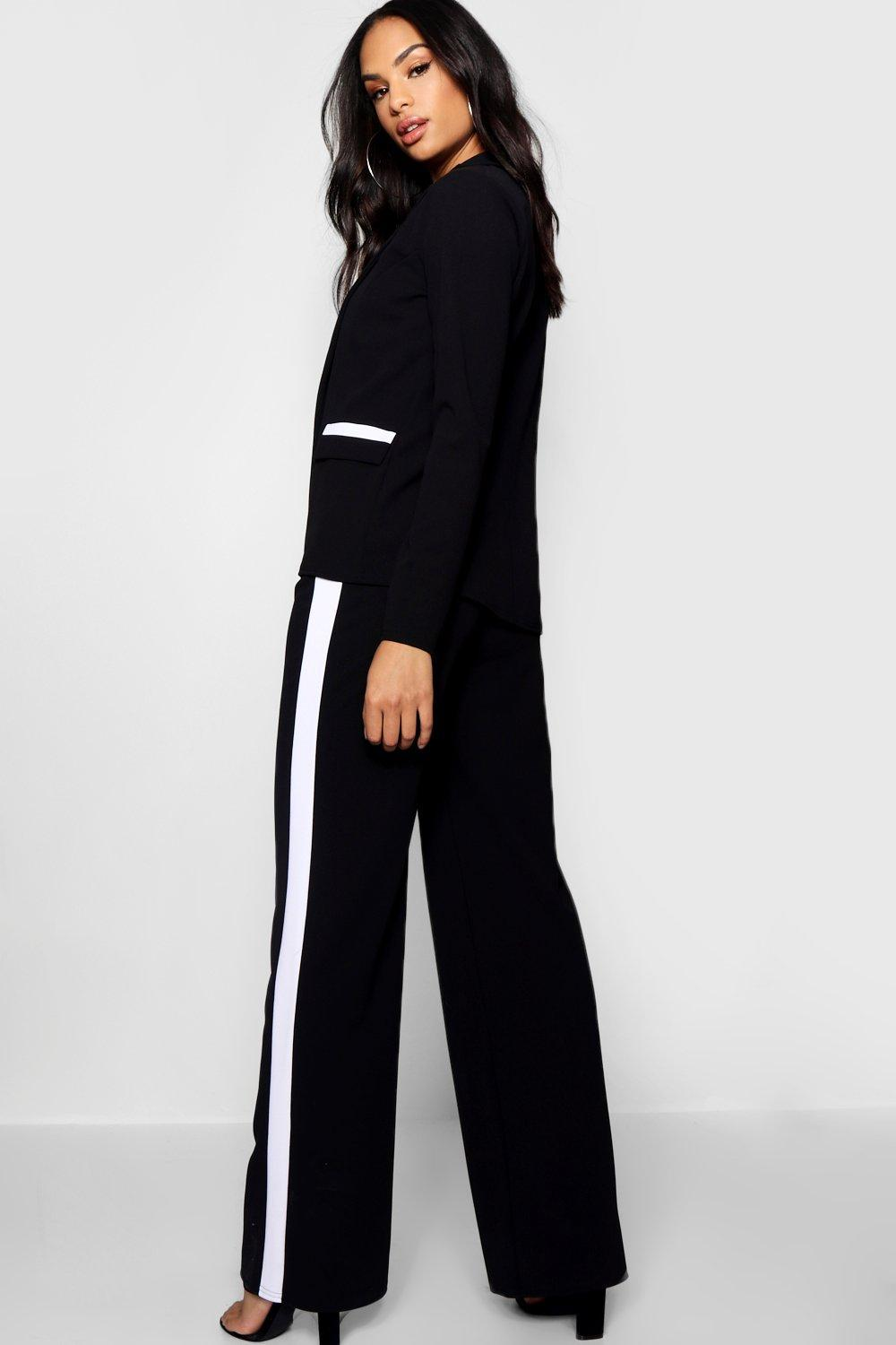 Boohoo Contrast Piping Detail Blazer in Black