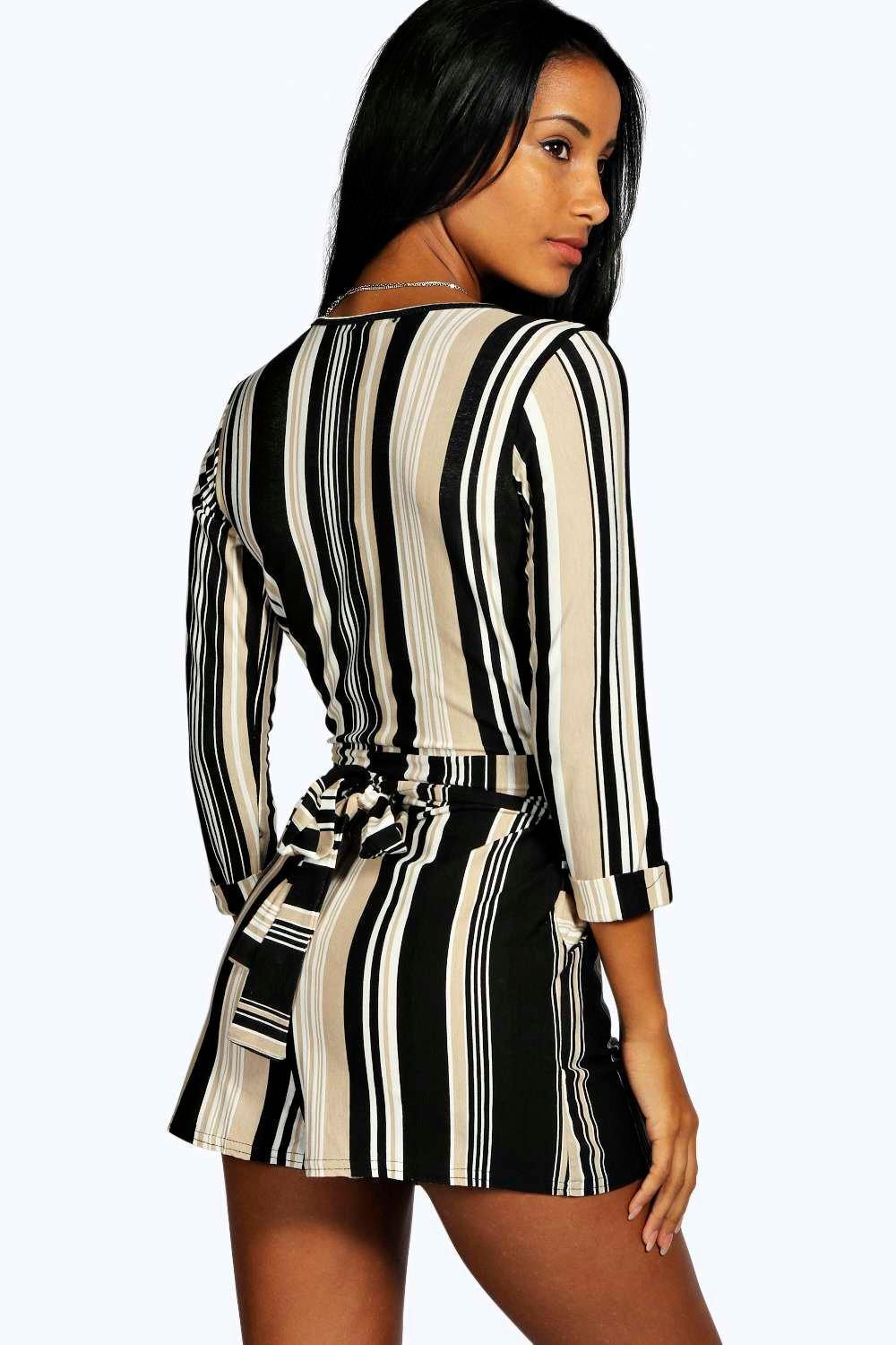 bf613c8a4c4 Boohoo - Multicolor Striped Relaxed Self Belt Playsuit - Lyst. View  fullscreen