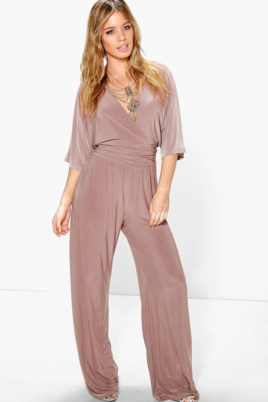 3d24d5656f5d Boohoo Petite Wrap Front Wide Leg Jumpsuit in Pink - Lyst
