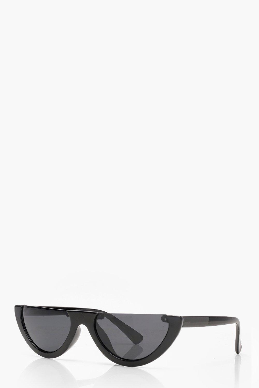 Boohoo Black Half Frame Retro Sunglasses