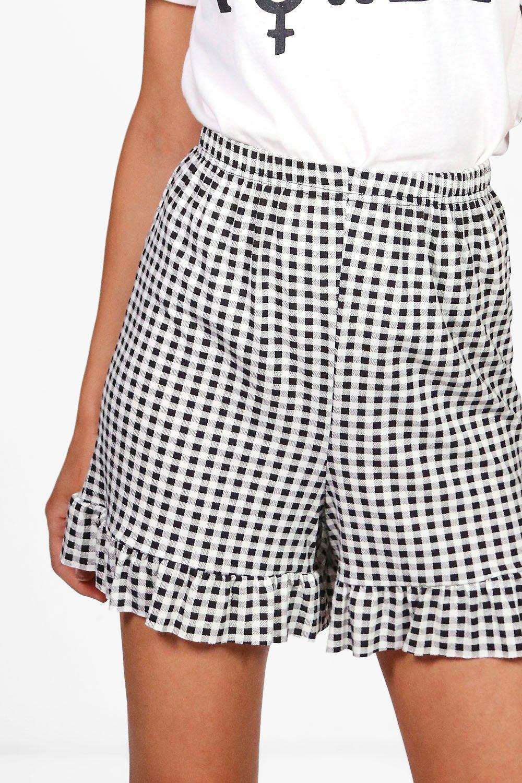 NEW LADIES WOMENS  Sally Gingham Ruffle Hem Shorts