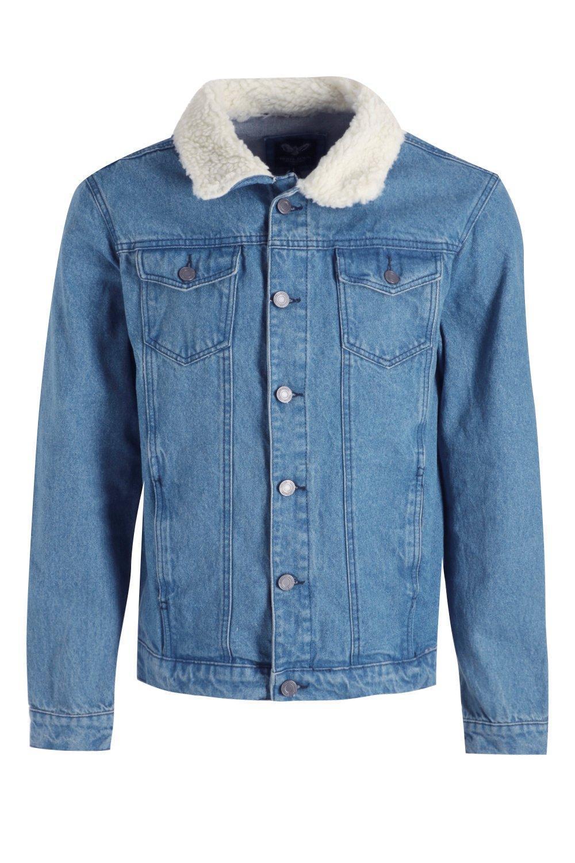 Boohoo Blue Regular Fit Denim Jacket for Men