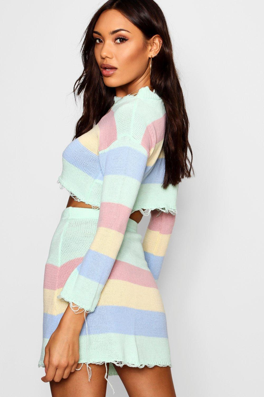 a08f9fc9c9e Boohoo Multicolor Knitted Pastel Co-ord Set