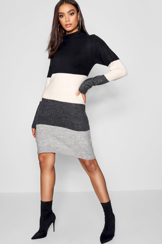 d1da1cae2276e Boohoo Funnel Neck Colour Block Dress in Gray - Lyst