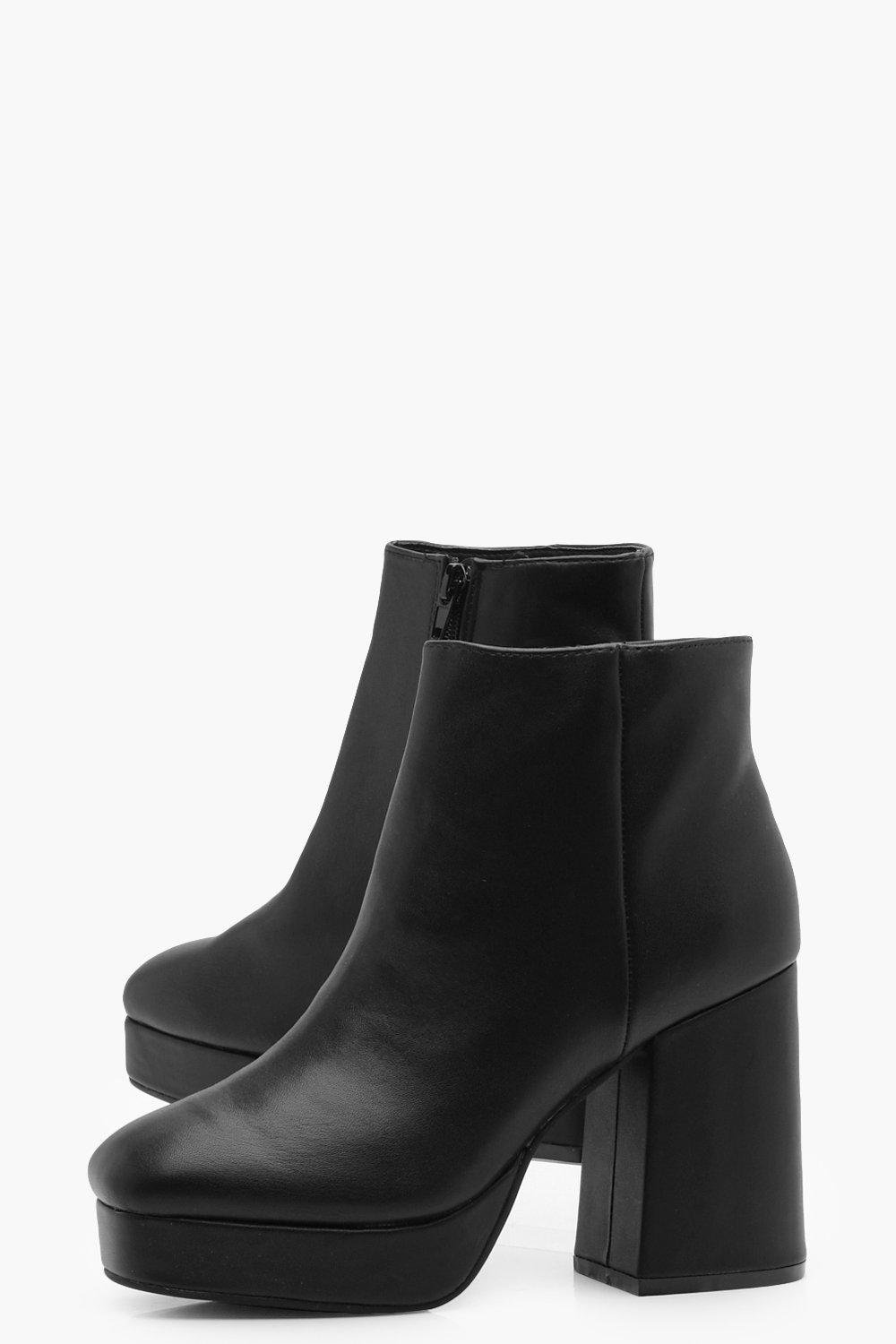 Boohoo Synthetic Platform Block Heel Ankle Boots in Black