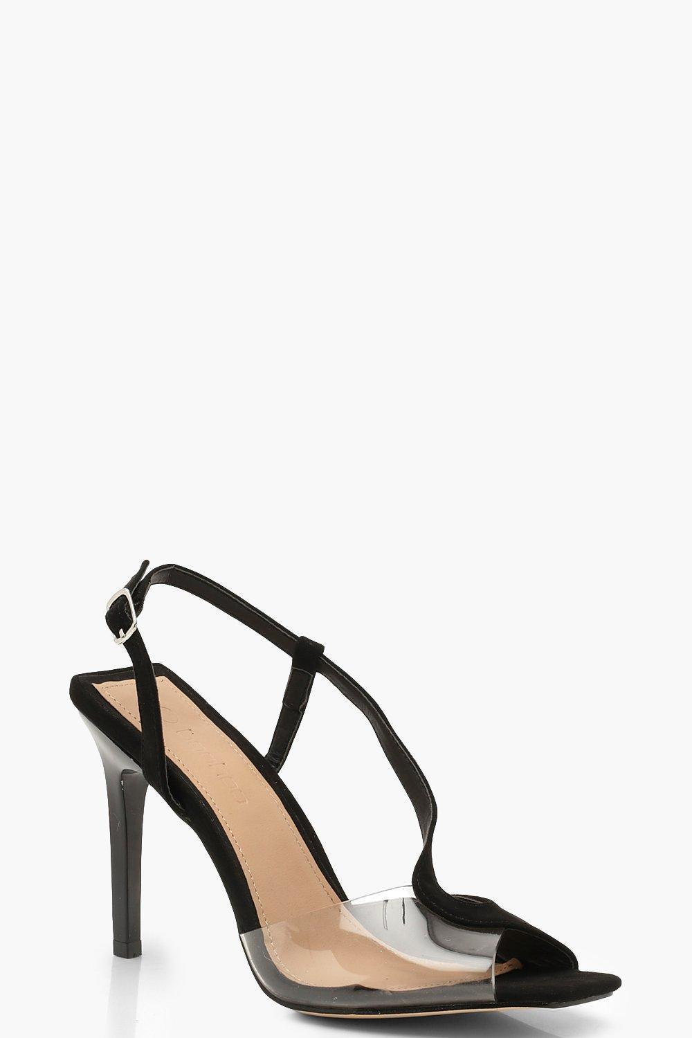 605f16873fc Boohoo Clear Panel Asymmetric Square Toe Heels in Black - Lyst