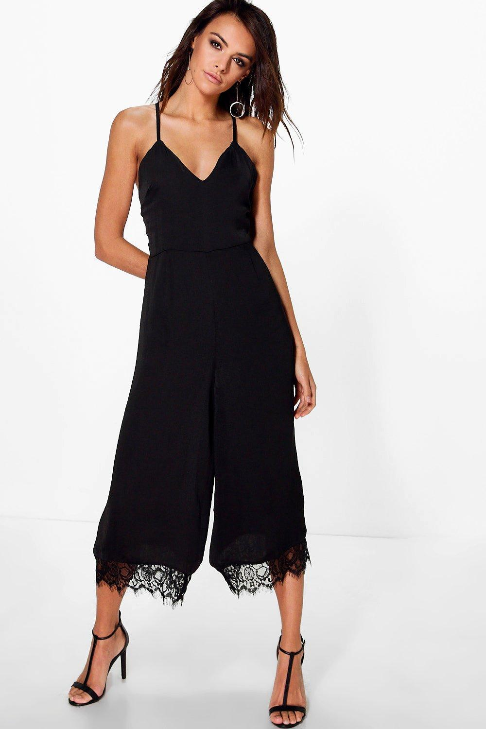 ce5efd7f89 Lyst - Boohoo Zoe Satin Strappy Lace Hem Culotte Jumpsuit in Black