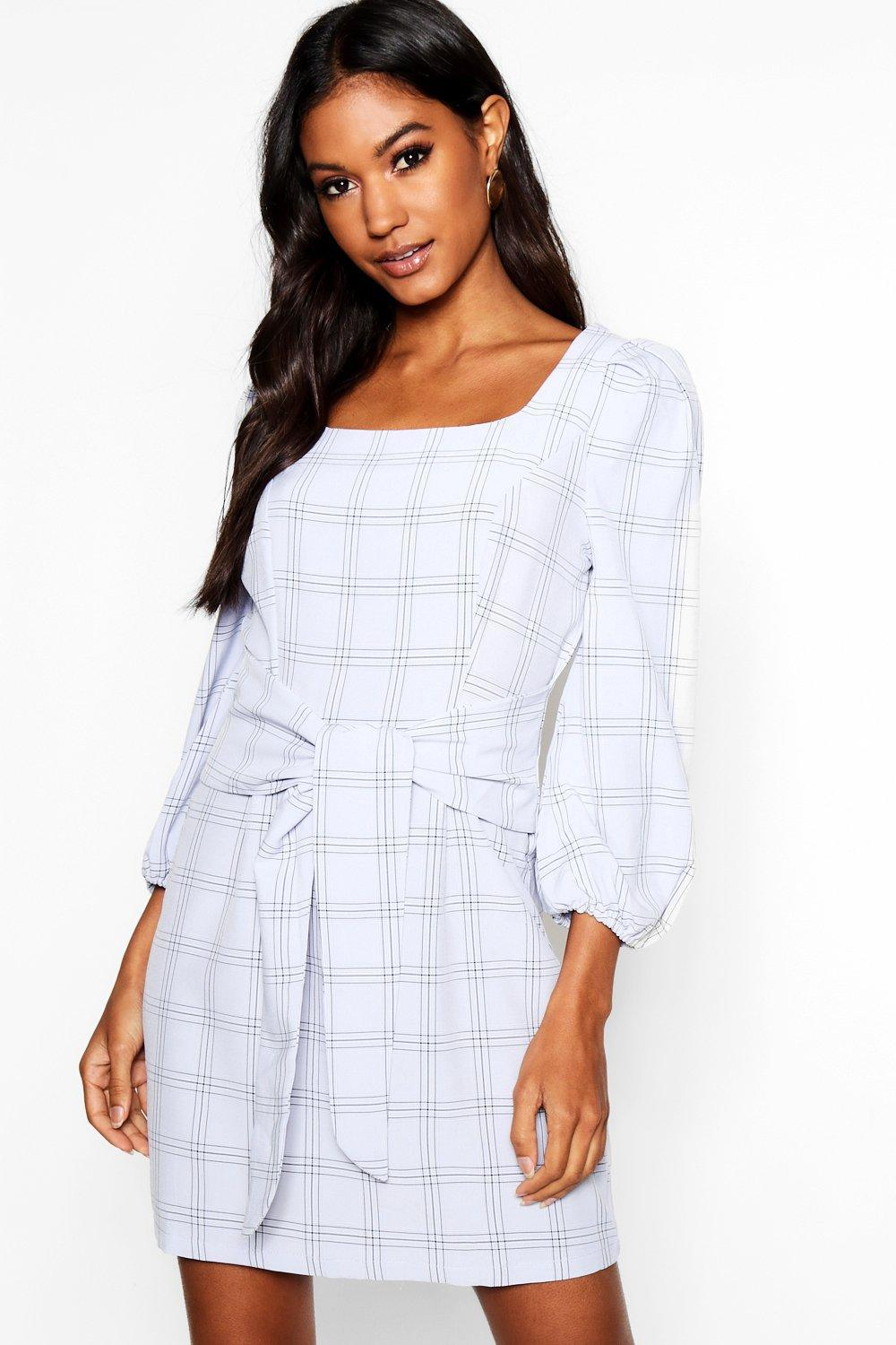 0beea5eb7d7d Lyst - Boohoo Rouched Sleeve Tie Waist Checked Shift Dress in Gray