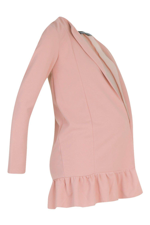 7cc756fed49c0 Boohoo Maternity Smart Frill Hem Duster Jacket in Pink - Lyst