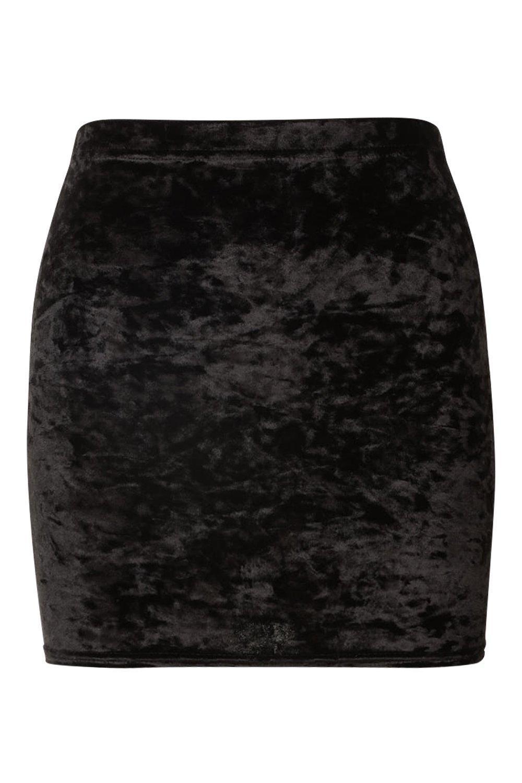 800be13f3d Boohoo Petite Crushed Velvet Mini Skirt in Black - Lyst