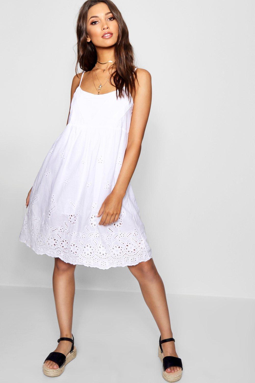 93ed76e0c3f6e Boohoo Broderie Anglais Skater Dress in White - Lyst