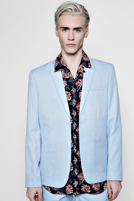 Boohoo Velvet Slim Fit Tailored Suit Jacket in Pale Blue (Blue) for Men