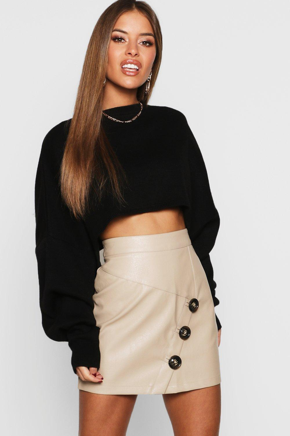 79539bfbf5 Boohoo Petite Mock Horn Button Faux Leather Mini Skirt in Black - Lyst