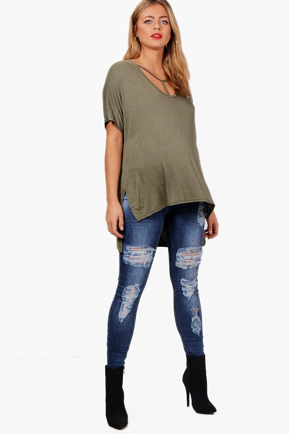 e096ae643eaab Lyst - Boohoo Maternity Over The Bump Ripped Skinny Jeans in Blue