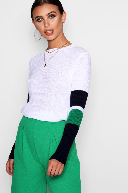 1d535676b9c Lyst - Boohoo Petite Sports Stripe Sleeve Jumper in White