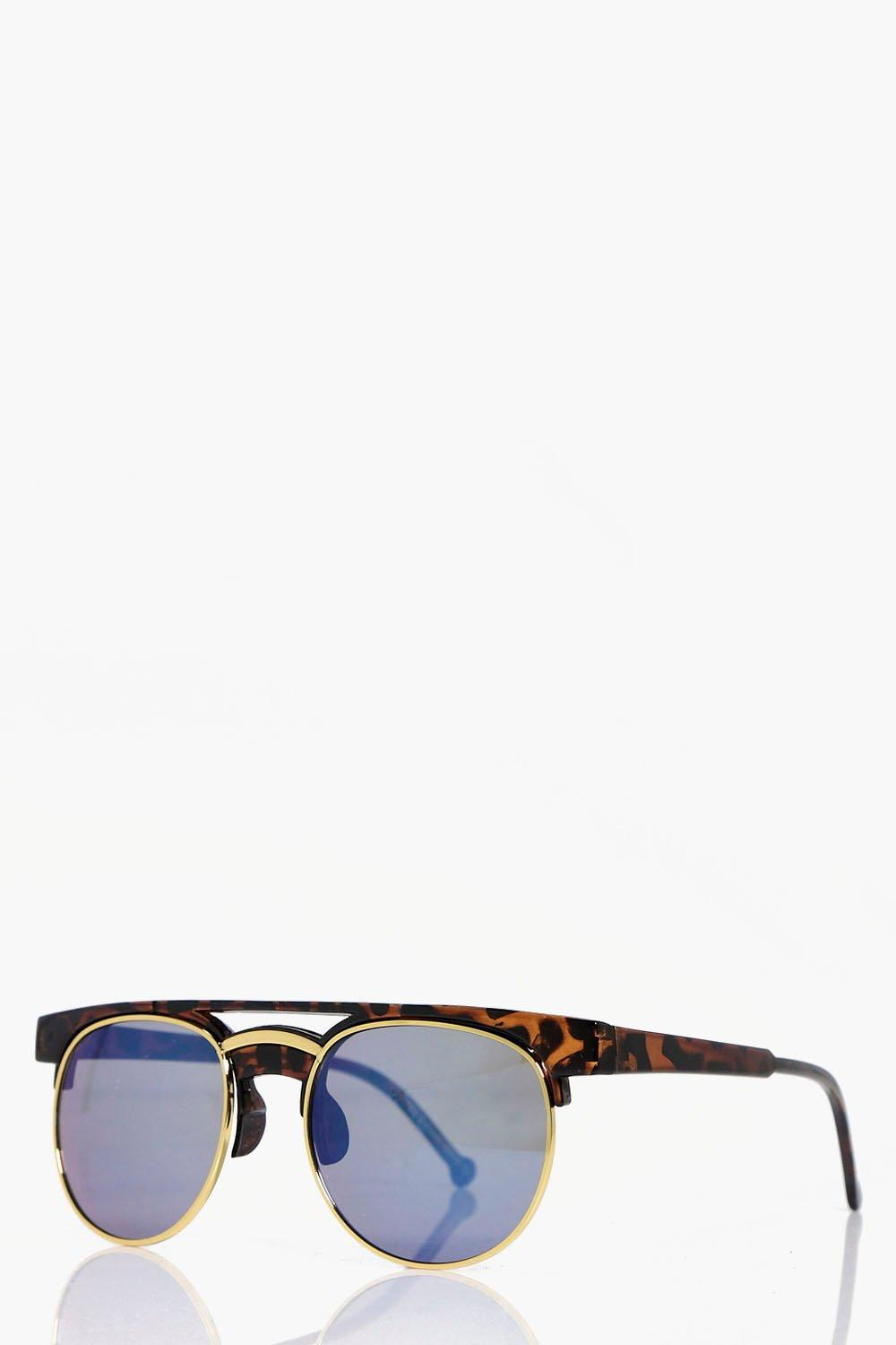 Boohoo Mia Thick Tortoise Frame Sunglasses in Brown
