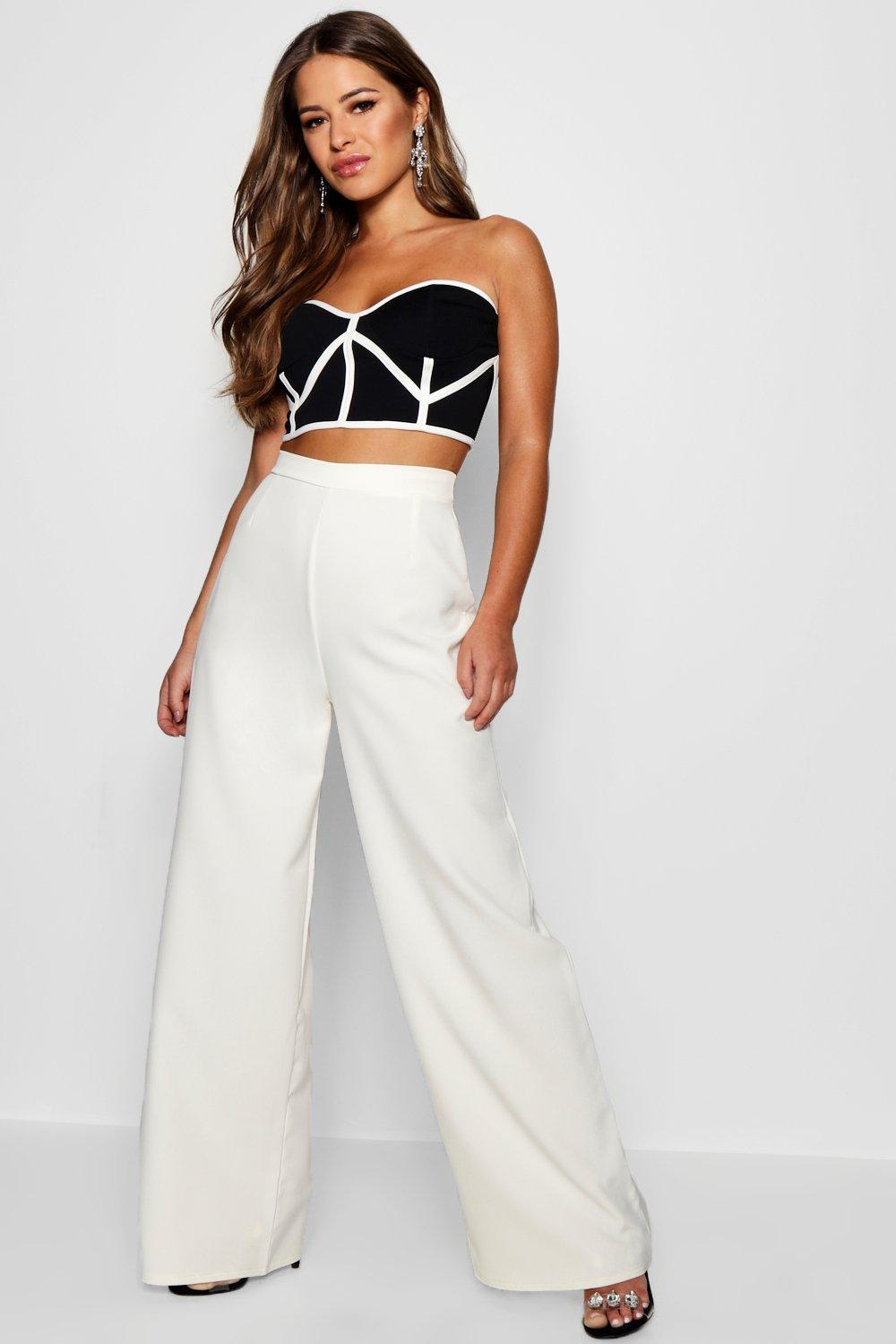 Boohoo Shelby High Waisted Woven Wide Leg Trousers Pick A Best Sale Online Cheap Sale Extremely Clearance 2018 Newest Factory Sale 0giJbyitxH