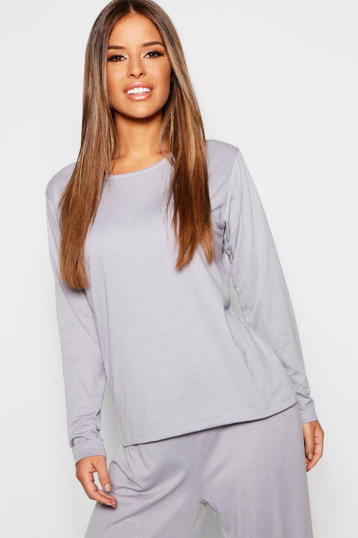 99f24e77b02bc Boohoo Petite Basic Jersey Long Sleeve Pj Top in Gray - Lyst