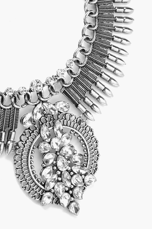 Boohoo Statement Diamante Necklace in Silver (Metallic)