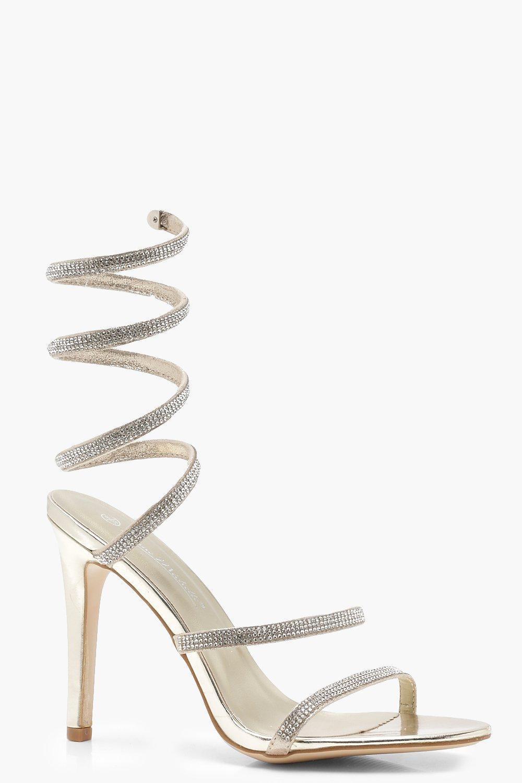d6e308d9c3e Boohoo Eliza Spiral Diamante Gladiator Heels in Metallic - Lyst