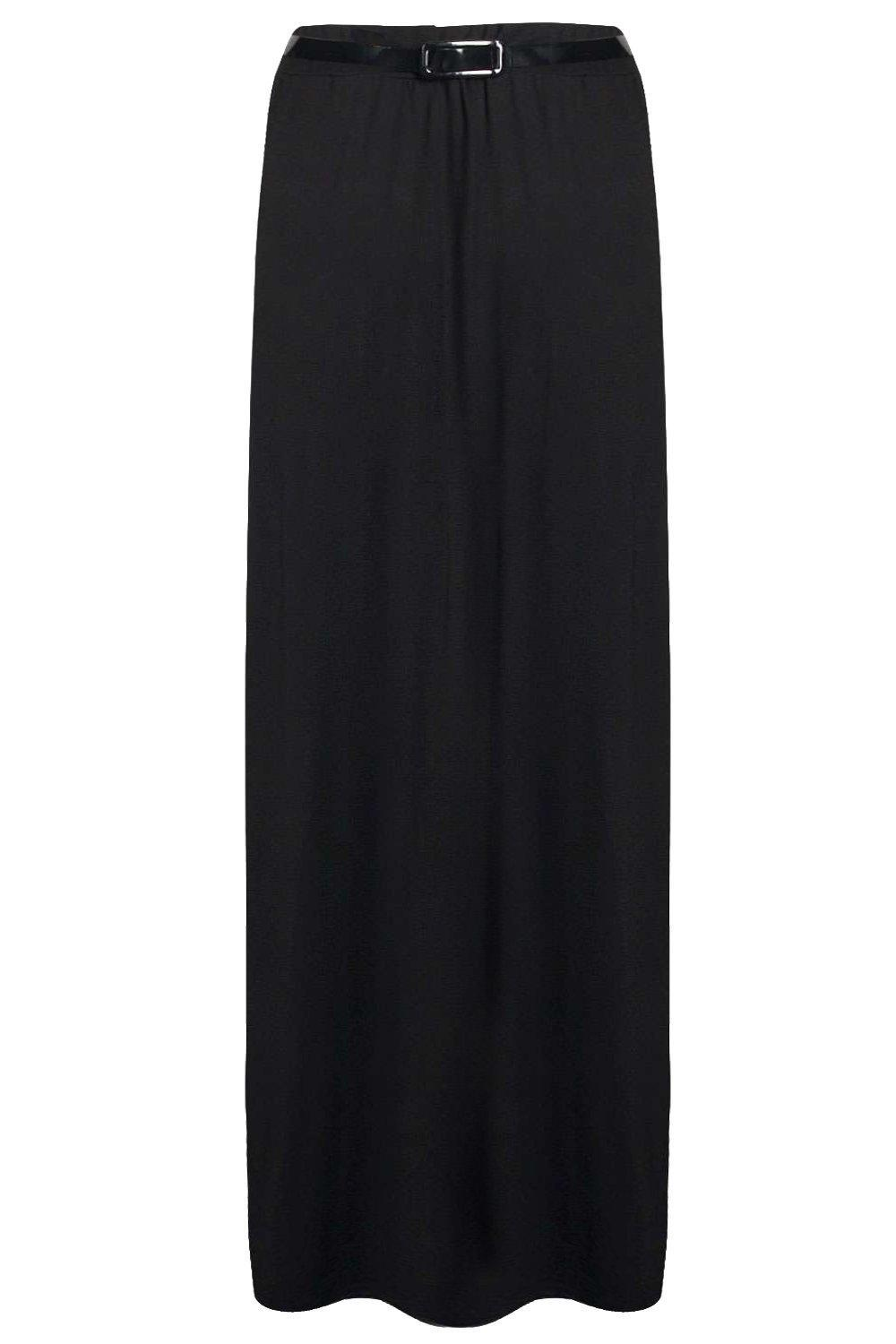 81131c6f3e9819 Boohoo Vivian Viscose Jersey Belted Maxi Skirt in Black - Lyst