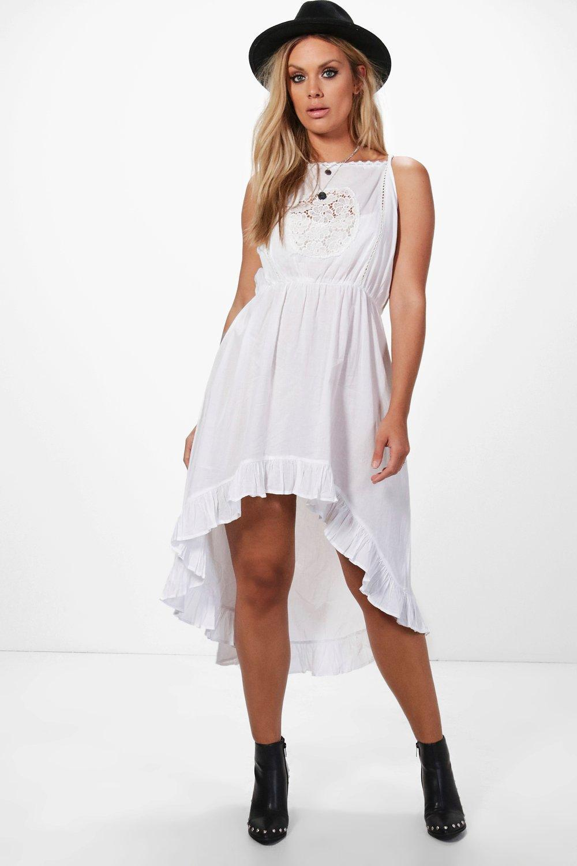 e3350aebfe03 Boohoo Plus Lara Crochet Lace Boho Midi Dress in White - Lyst