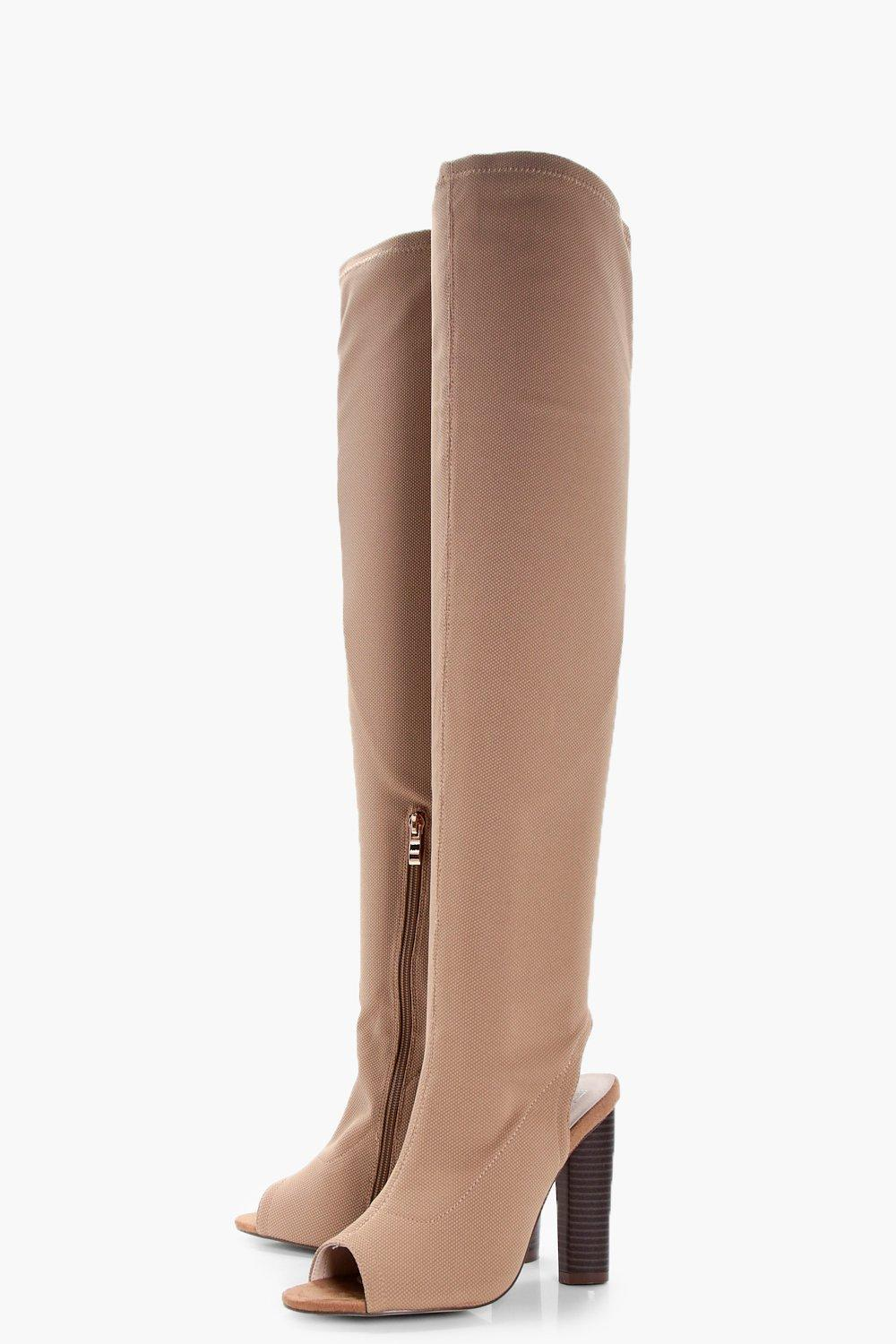 Boohoo Synthetic Libby Peeptoe Sock Thigh High Boots in Beige (Natural)