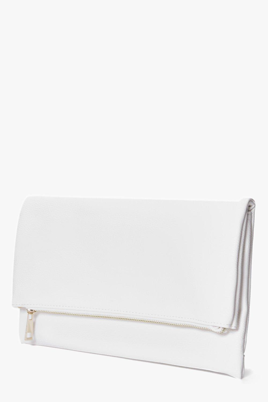 Boohoo Jessica Oversized Rectangle Clutch Bag Cream NEW