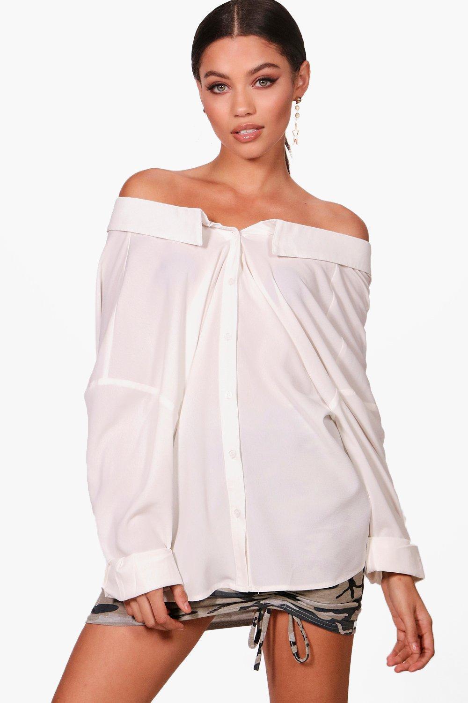 Factory Outlet Online Free Shipping 2018 Newest Boohoo Drape Back Bardot Shirt pct0ebX