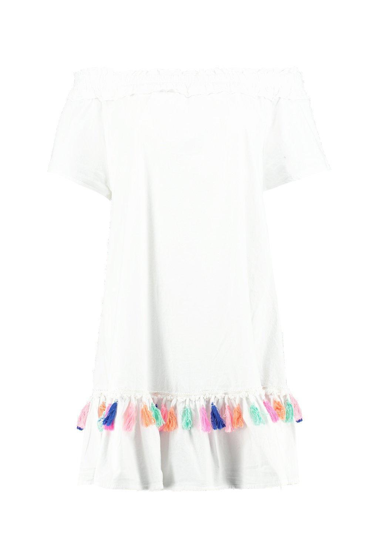 0024248b3418 Lyst - Boohoo Elise Tassel Trim Off The Shoulder Beach Dress in White