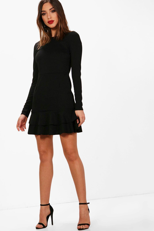 f2258d6b61 Lyst - Boohoo Ruffle Hem Long Sleeve Dress in Black