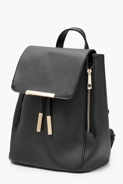 Boohoo Crosshatch & Zips Rucksack in Black