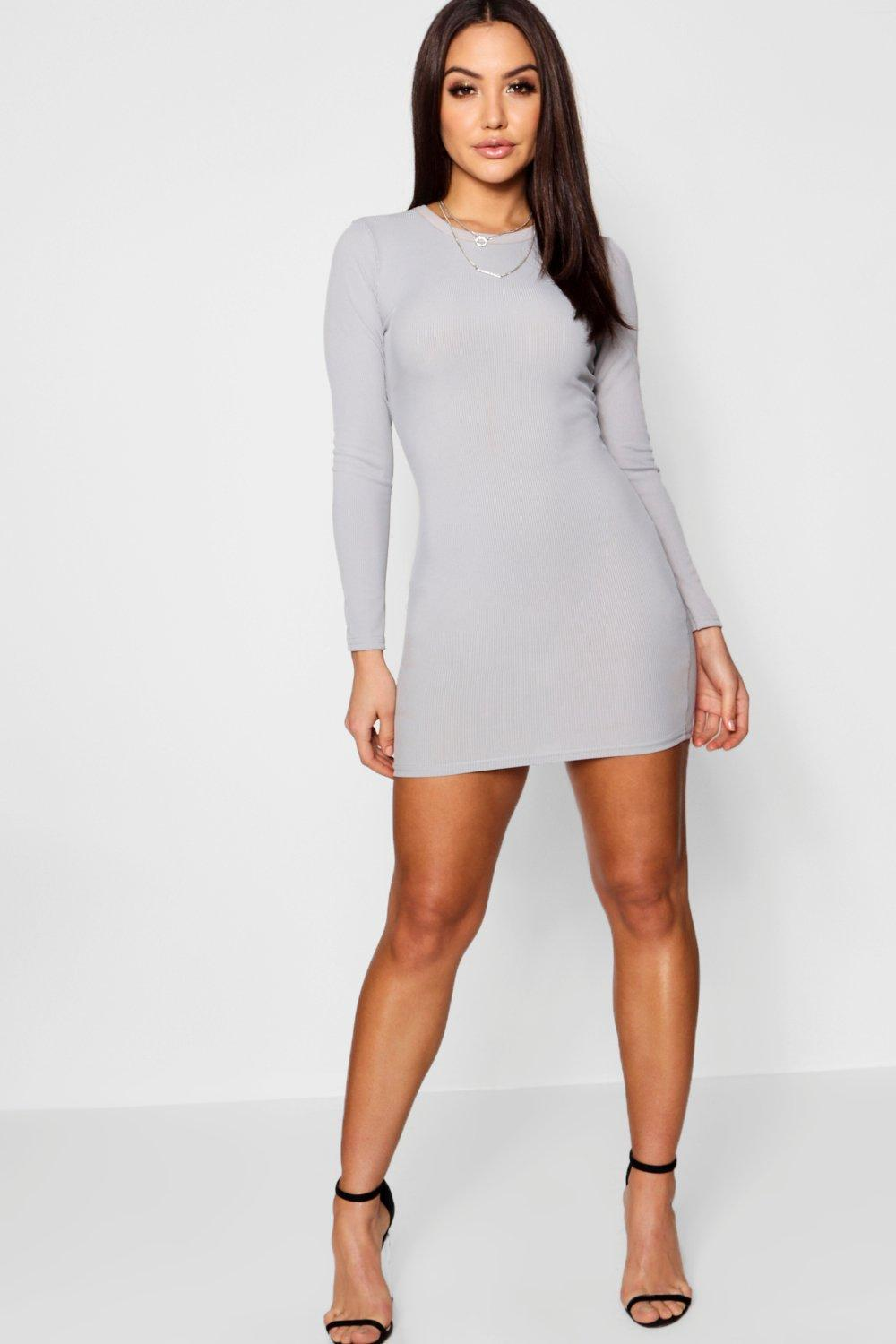 7cbcb0def3f Lyst - Boohoo Ribbed Basic Long Sleeve Bodycon Dress in Gray