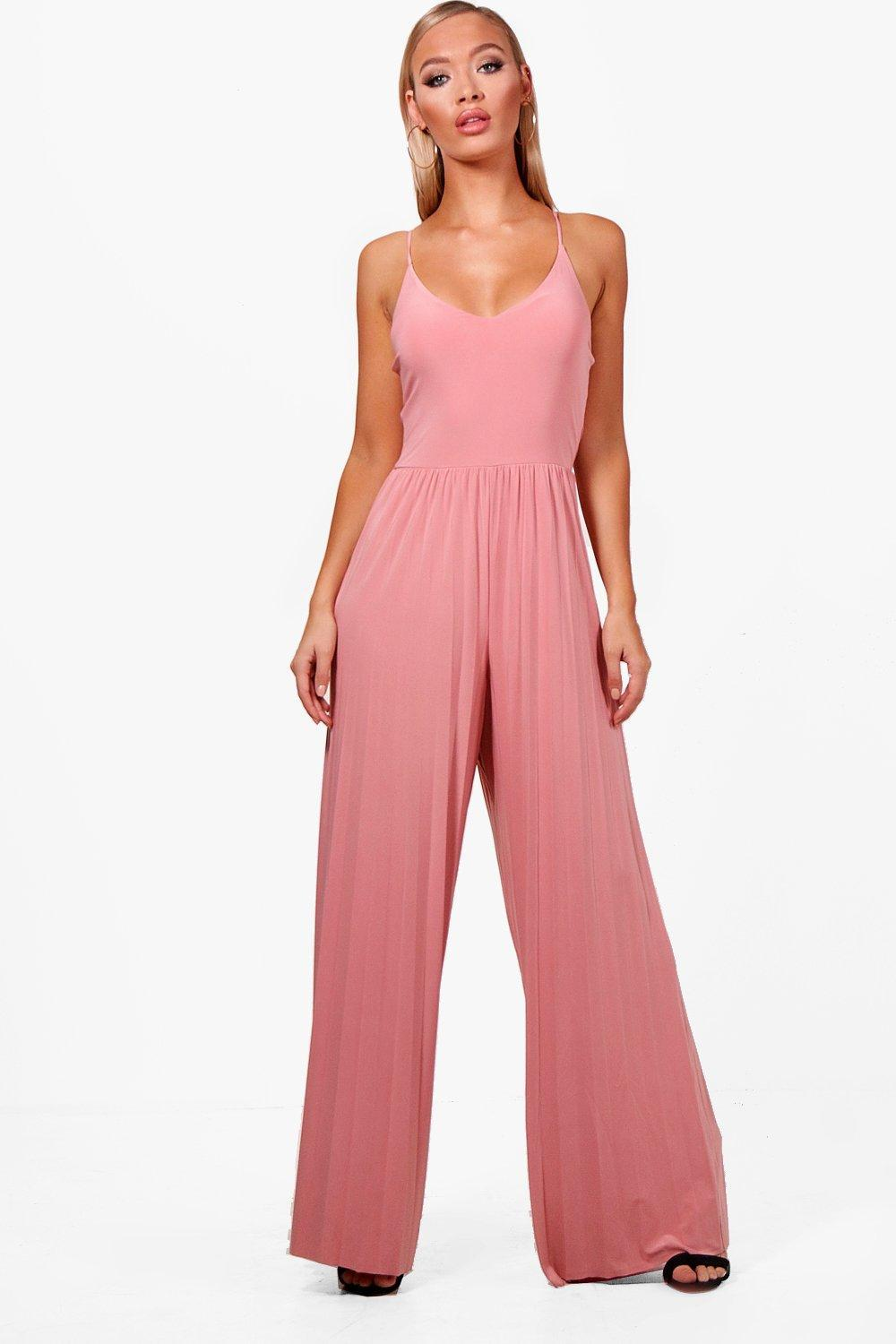 c477ac11af Boohoo Pleated Wide Leg Jumpsuit in Pink - Lyst