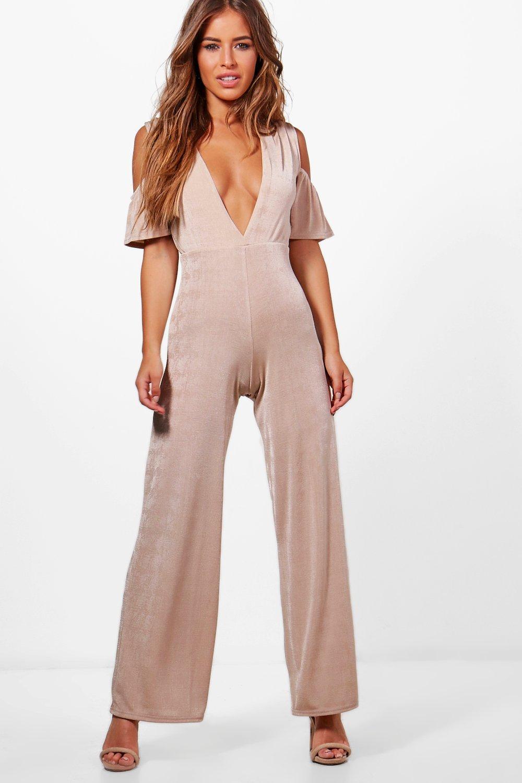 1cf7db0ee60e Lyst - Boohoo Petite Lauren Slinky Plunge Detail Jumpsuit in Pink