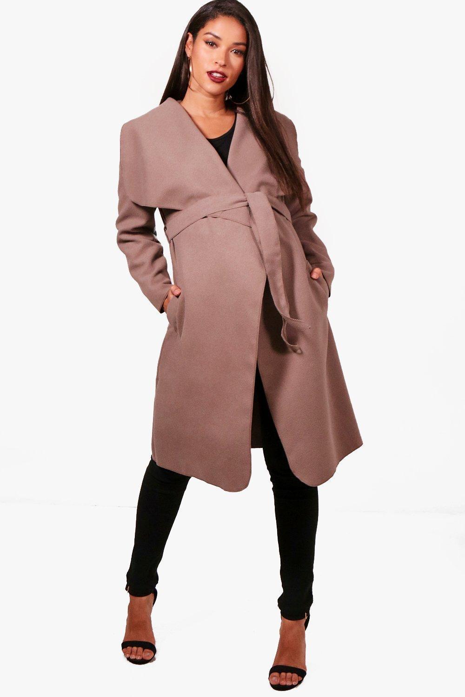 6a59779930b9c Boohoo. Women's Maternity Belted Shawl Collar Coat