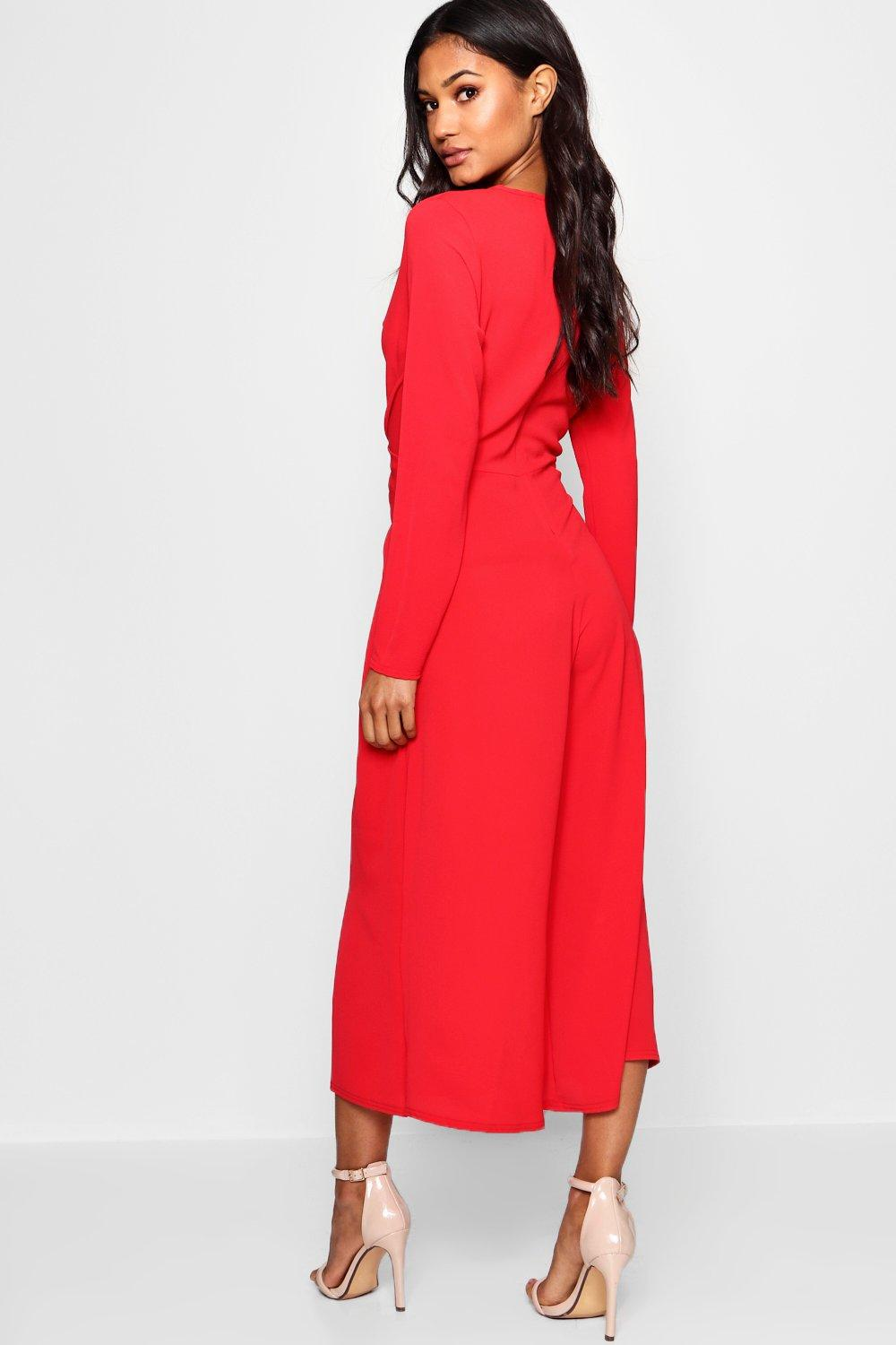 d6c80ed978 Boohoo Knot Front Culotte Jumpsuit in Red - Save 30% - Lyst