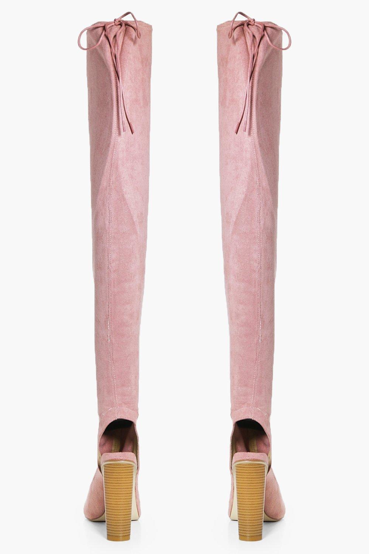 Boohoo Synthetic Amelia Peeptoe Thigh High Boot in Blush (Pink)