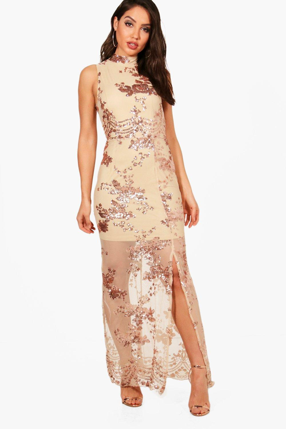 04966a0ab5f Boohoo Boutique Sequin Mesh Maxi Dress - Lyst