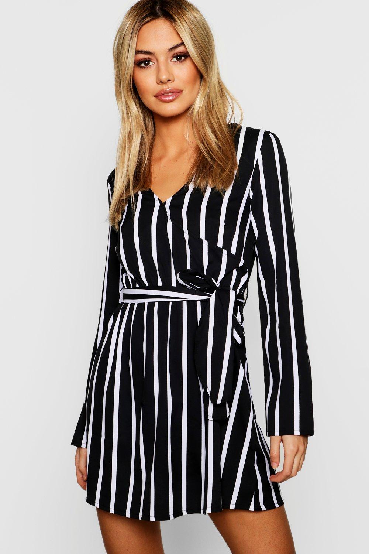 c3cb6fc0eb08 Lyst - Boohoo Petite Black Wrap Over Stripe Shift Dress in Black