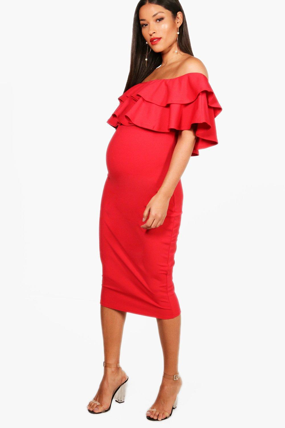 5c7cd699d11d6 Lyst - Boohoo Maternity Ruffle Off The Shoulder Midi Dress in Red