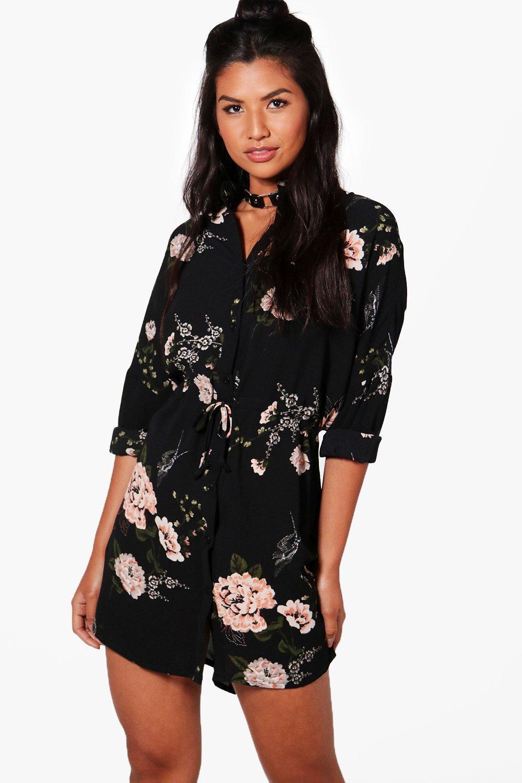 890fba2bace3 Lyst - Boohoo Floral Shirt Dress in Black