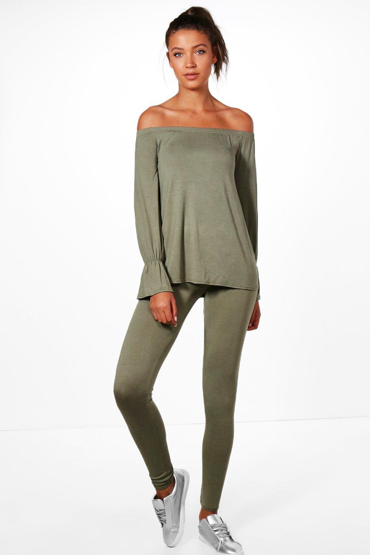 91e4ca9ddc8bf5 Boohoo Tall Mia Off The Shoulder Top & Legging Lounge Set in Green ...