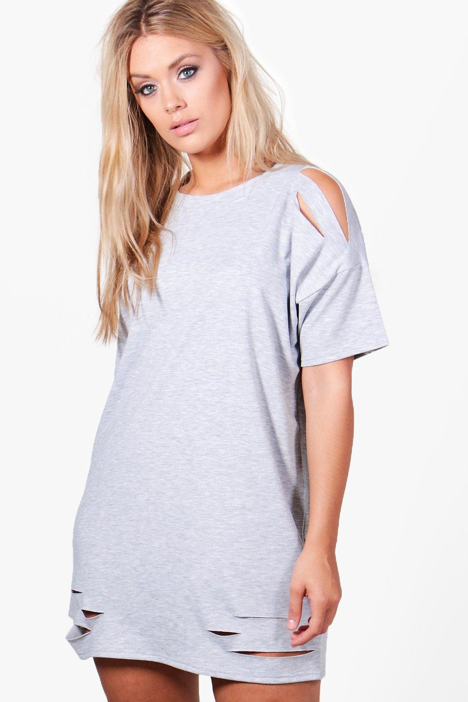 4d4f3993483 Lyst - Boohoo Plus Faith Distressed T-shirt Dress in Gray