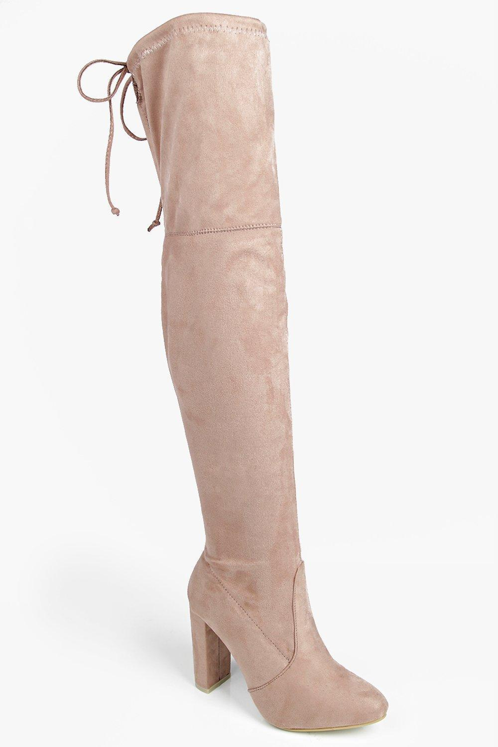 b293c5549626 Lyst - Boohoo Mia Block Heel Lace Up Back Over Knee Boot in Natural