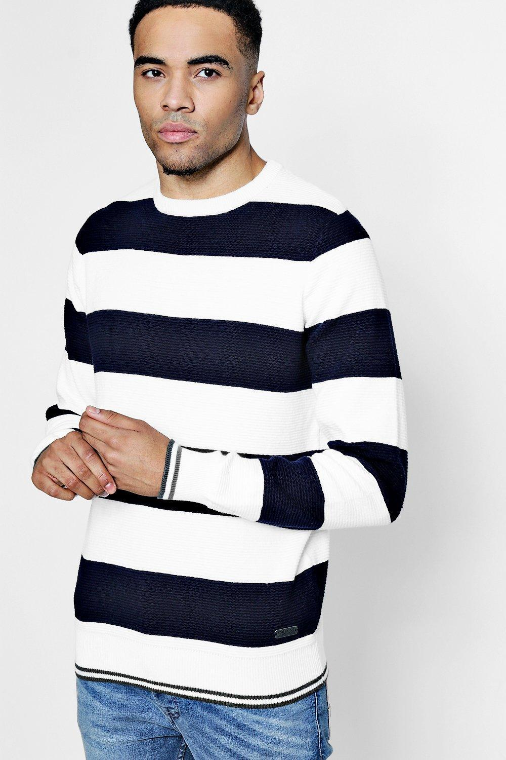 HTOOHTOOH Mens Knitted Winter Round Neck Knitwear Stripe Slim Pullover Sweaters